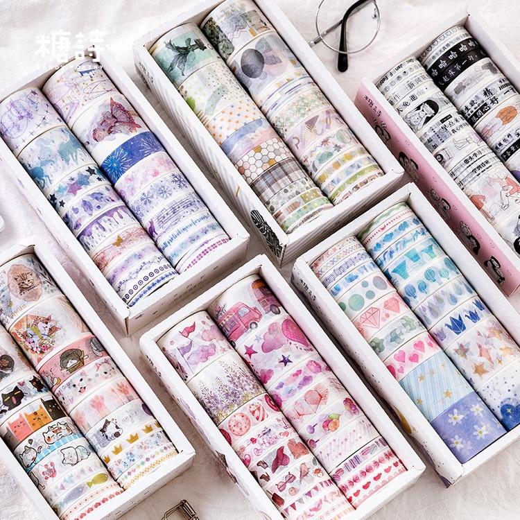 20pcs/Set Kawaii Foil Masking Washi Tape Set Creative Diy Bullet Journal Decorative Adhesive Tape Sticker Scrapbooking Supplies