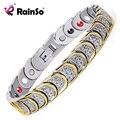 Rainso Gold silver plated bracelet 4 Elements Health Magnetic Men Bracelets & Bangles Titanium Squamiform Design OTB-768SGFIR