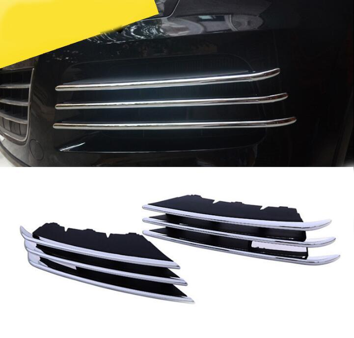 Car styling For VW Touareg 2011 - 2014 high quality Chrome Mesh grille cover trim near front fog light free shipping high quality chrome head light cover for volkswagen tiguan free shipping brand new