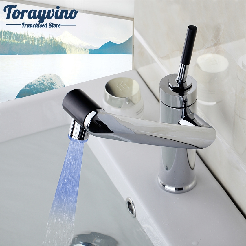 Kitchen Faucet No Water: Torayvino Kitchen LED Rotate Faucet Water Bathroom Faucet