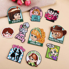 DOUBLEHEE Size On The Photo Girl Patch Embroidered Patches For Clothing Iron Close Shoes Bags Badges Embroidery