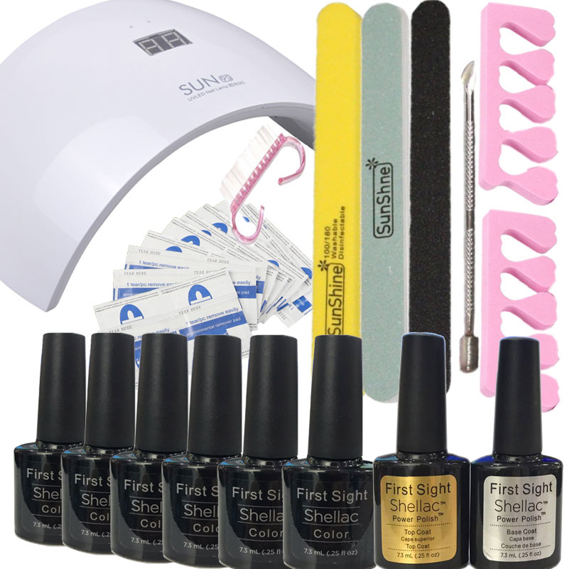 Nail tools 24W LED Lamp & 6 Color UV Gel polish Nail Art Tool Kit set manicure set nail art led lamp 9s/9c gel polish kit