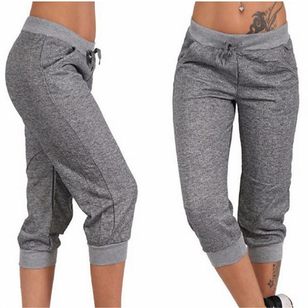 Women Casual Cropped Trousers Summer Pockets Joggers Harem Pants Female Capri Pants Calf-Length Drawstring Street Wear mujer