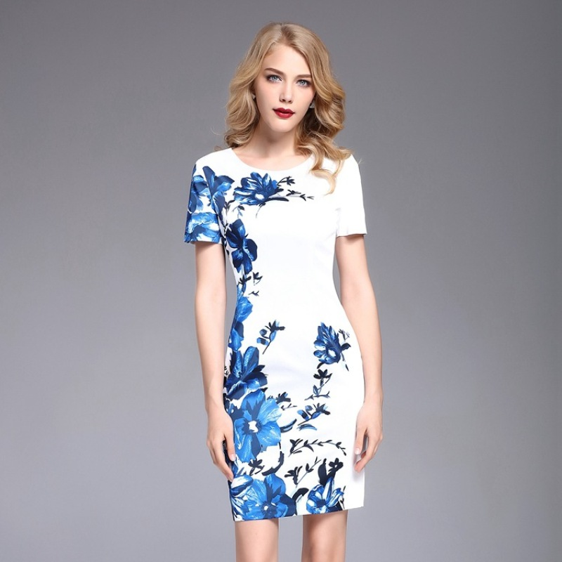 Print party dress 2018 NEW High quality spring summer fashion Vintage Women Clothing Dress XL Short sleeve free shipping dresses-in Dresses from Women's Clothing    1