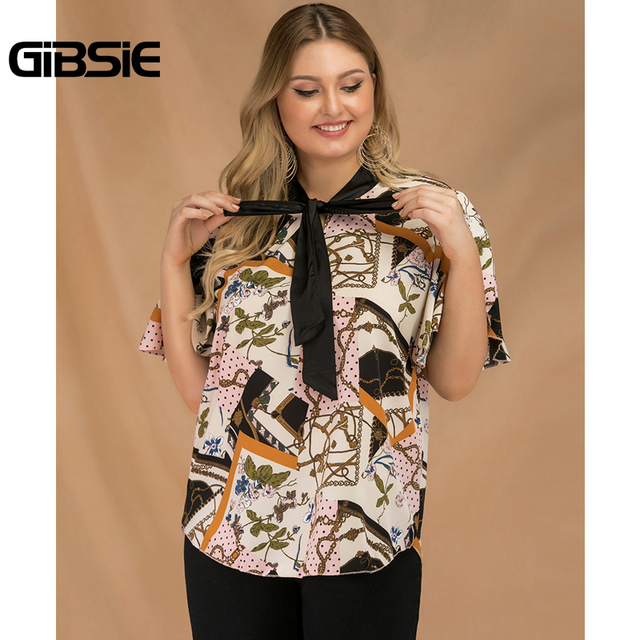 GIBSIE Plus Size Elegant Bow Tie Neck Butterfly Sleeve Blouse Women 2019 Summer Office Lady Casual Mixed Print Shirt Top Female 3