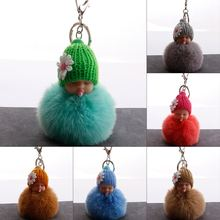 Sleeping Baby Doll Keychain foot Pompom Pacifier baby fake Rabbit Fur Ball Key Chain Car Keyring Women Key Holder Charm jewelry(China)