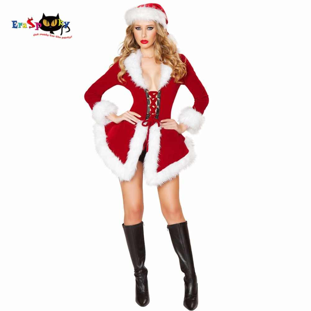71350e2fb0358 2017 Women Christmas Clothing Sexy Miss Santa Dress Christmas Costumes For  Adults Roly Game Playing Bodycon Dress And Hat Set