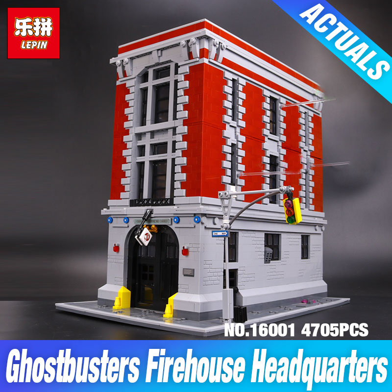 LEPIN 16001 4705Pcs Ghostbusters Firehouse Headquarters Model Building Kits Educational DIY Toy set brin quedos Compatible 75827 lepin 16001 4705pcs city street series ghostbusters firehouse headquarters building block bricks kids toys for gift 75827