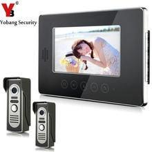 Big discount YobangSecurity Wired Video Door Phone Intercom 7″Inch LCD Video Doorbell Camera System 2 Camera 1 Monitor For Apartment House