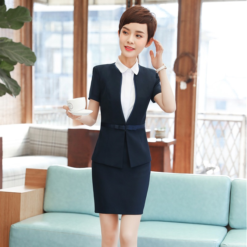 Summer Short Sleeve Elegant Female Blazers Suits With 2 Pieces Tops And Skirt For Ladies Interview Job Uniform Styles