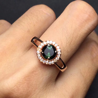 Fine Jewelry Real S925 Solid Silver 925 Sterling Silver Natural Clean Classic True Tourmaline Ring For