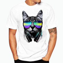 Newest men's fashion short sleeve music DJ Cat printed funny tee shirts Hipster O-neck popular tops Casual Loose Plus Size M-3XL