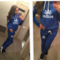 2 pcs jumper suit New autumn winter women ladies long sleeve letter print fleece hoodieTracksuits Sportswear pullover Sets