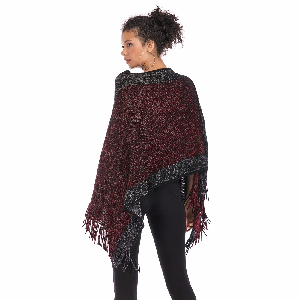 PGSD Autumn Winter simple Fashion Women Clothes Spliced Slash neck Fringed Cape shawl Bat sleeve knitted Loose Pullover female