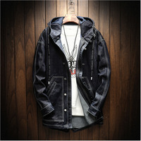 Autumn Winter New Men's Denim Jacket And Coats Hooded Loose Casual Solid Color Retro Simple Fashion Streetwear Outwear Man