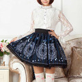 Dark Blue Stars Moon Print Lolita Lace Short Skirt Gentlewomen Pleated Harujuku Japan Fashion England High quality Lady Skirts