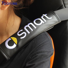 Smart Fortwo Forfour 453 Logo Embroidery PU Seat Belt Cover Protector Car covers Camping Safety Shoulder