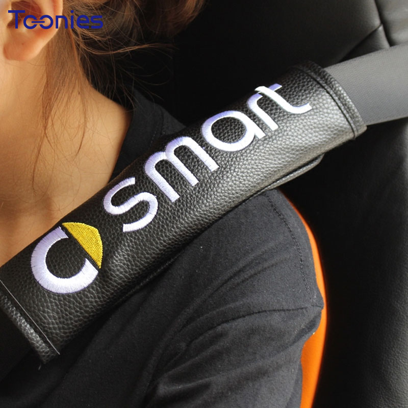 Smart Fortwo Forfour 453 Logo Embroidery PU Seat Belt Cover Protector Car-covers Camping Safety Shoulder Protection Decorative