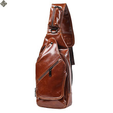 New fashion style Crazy horse Leather Men chest pack small bag CrossBody Shoulder bag Leisure travel mini bag Black Brown