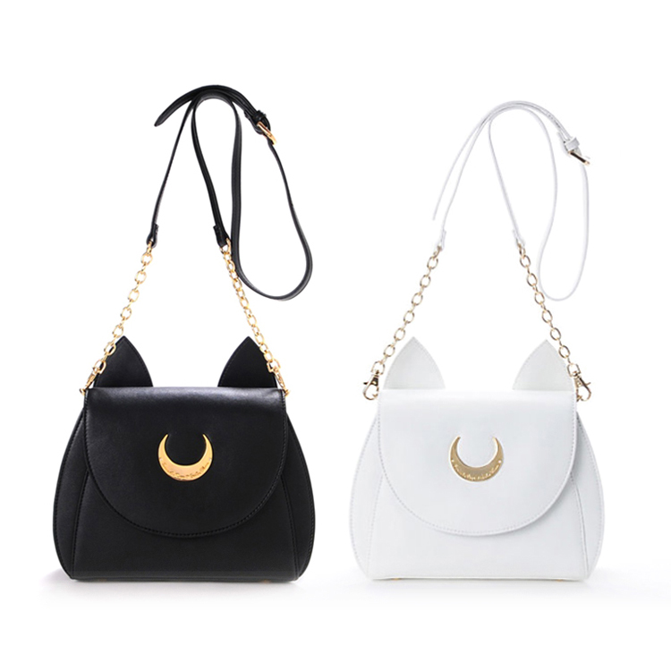 Cute Black White Japanese Anime Cosplay Sailor Moon Bag Harajuku Cute Women Bag PU Black White Lolita Messenger Bags