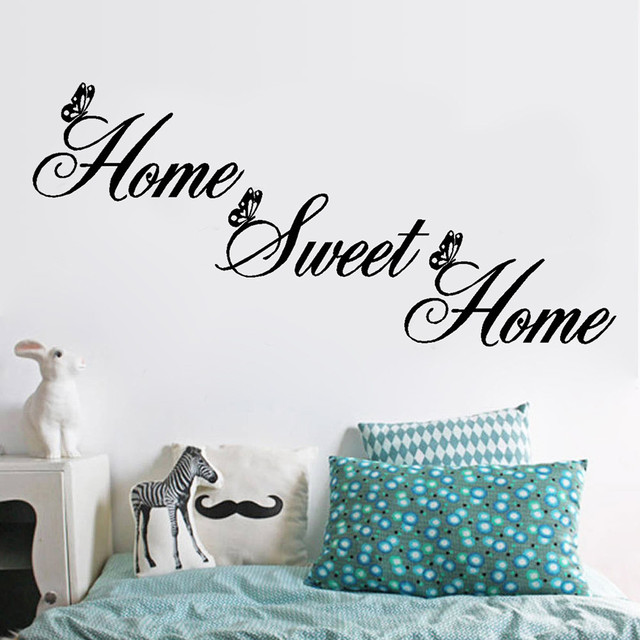 Home Sweet Home Wall Stickers Creative DIY Removable Letter Wall Decals Art Decor for Living Room Bedroom Wallpaper Home Decor