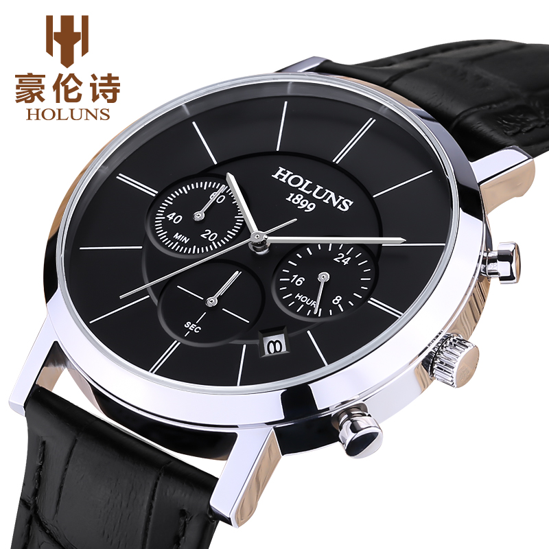 luxury HOLUNS mens Sapphire glass quartz wristwatches black leather strap watch waterproof date watch