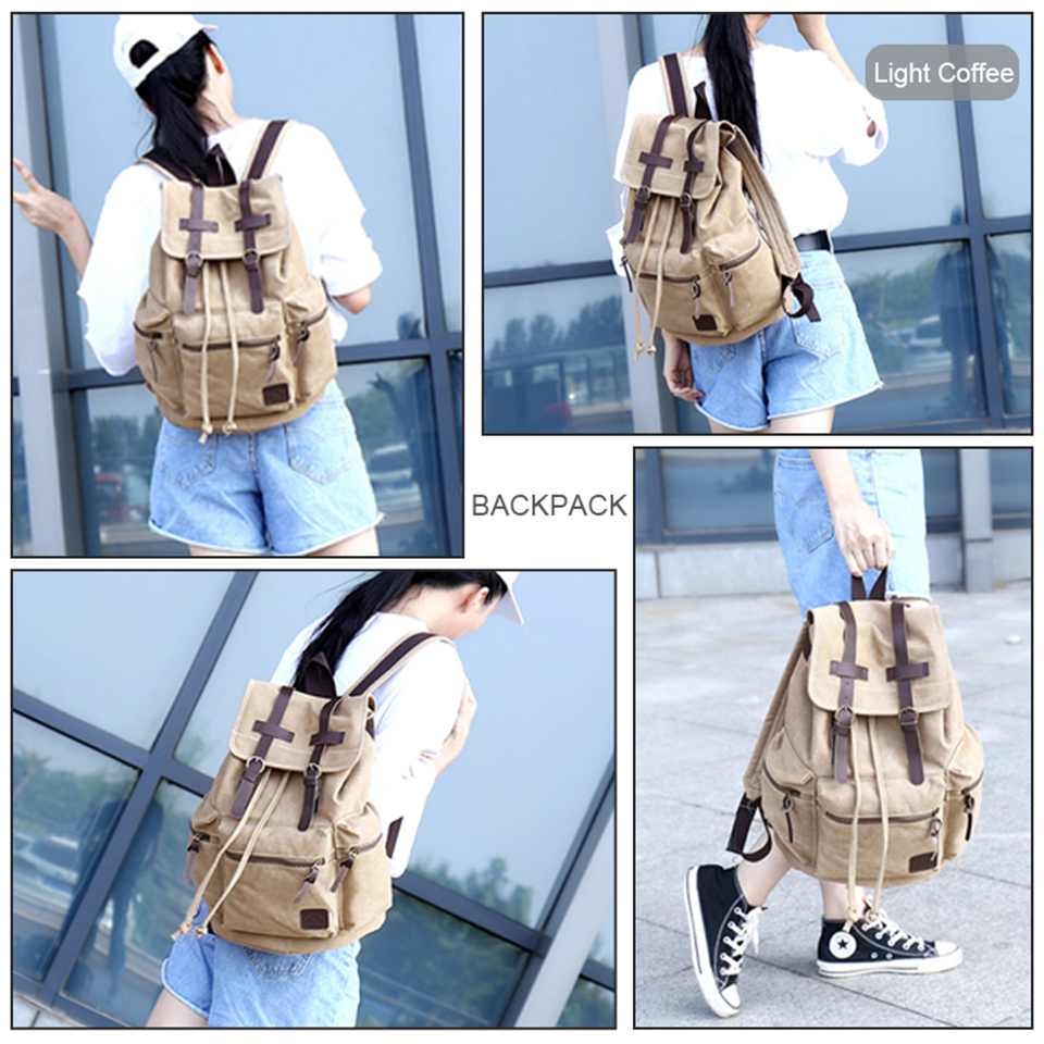 College Student Bagpack High School Backpack Boys Men Canvas Laptop Backpacks Women Fashion Backpacking Travel Vintage Bags Pack in Backpacks from Luggage Bags