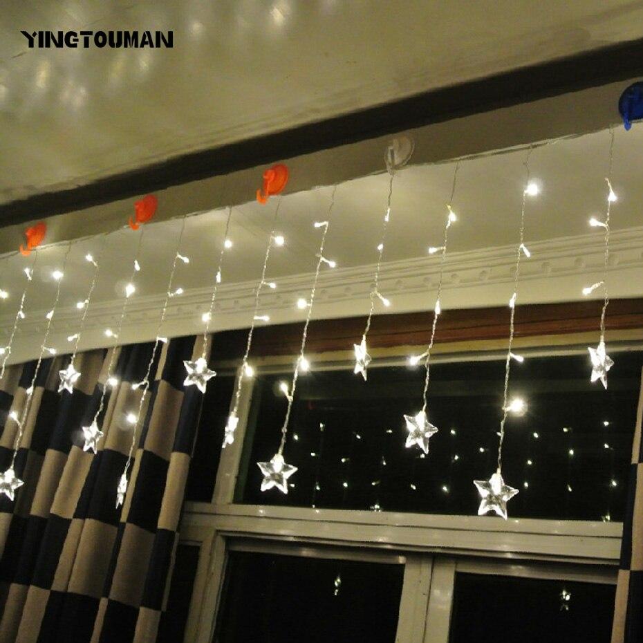 YINGTOUMAN Bling 5.2M Snowflake Curtain Lamp LED Festive Party Bar Bedroom Lantern String Wedding Christmas String Lights