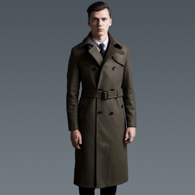 17679ed89d3 Plus Size Overcoat Men Double Breasted Long Wool Coat Winter Double Breasted  Cashmere Business Military Green Army Thick Coat