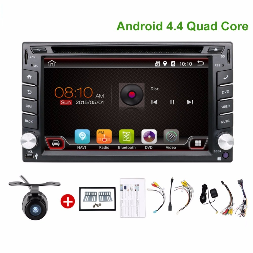 Quad Core 2din android 4.4 2din radio tape recorder Car DVD Player GPS Navigation In dash steering wheel