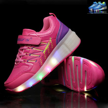 summer Breathable Children Shoes Shoes Kids LED Light up Shoes Girls Boys Roller Shoes with Wheels