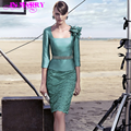 2016 New Design Party Dress Knee Length Lace Cocktail Dresses 3/4 Sleeves Beading Belt Mother of Bride Dresses