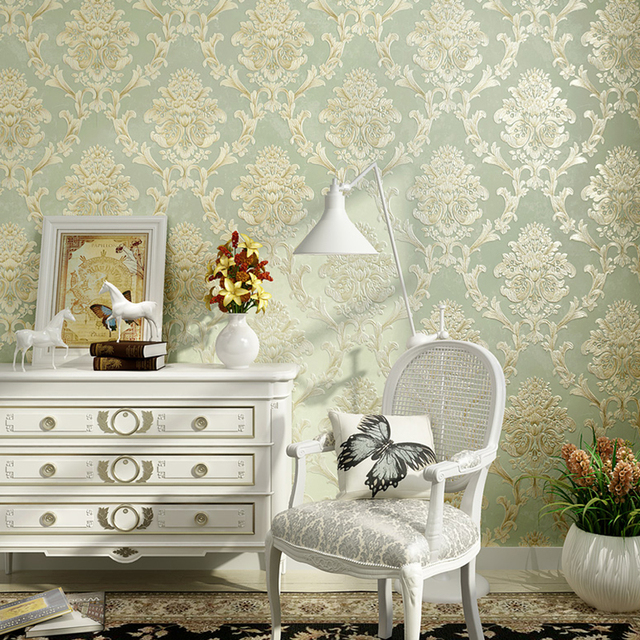 European Style Non Woven Fabric Wallpaper Wall Covering Roll Home Decor Stereo Embossed Damask