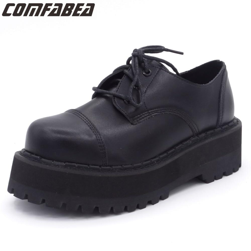 autumn shoes casual lace black shoes platform flat
