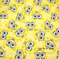 140X100cm SpongeBob SquarePants's Face Yellow Micro Sanding Cotton Fabric for Baby Boy Girl Clothes Quilting DIY-BK007