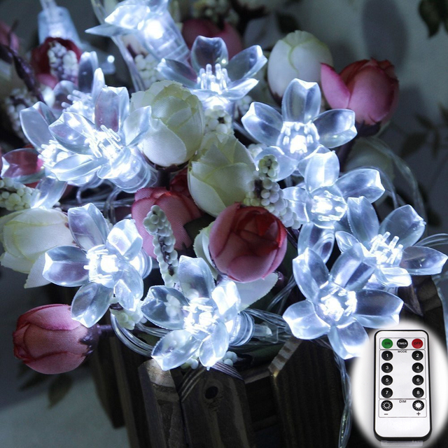 Cherry Peach Blossom Wedding Flower 6M 60LED Fairy String Light Outdoor Festival Decoration Lamps Battery Powered Remote control