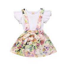 Toddler Kid Girl Clothes Fly Sleeve Tops+Floral Dress Summer Outfits Set Girls Clothing Set Kids Costume Children Set Clothes girls floral blouse kid s clothes long sleeve off shoulder tops children clothing summer girl s outfits