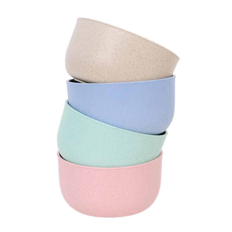 1PC New Leaf Wheat Straw 4 Colors 4 Shaped Club Relish Plate Round Plastic Kitchen Accessories Heart Mini Size Soup Bowl