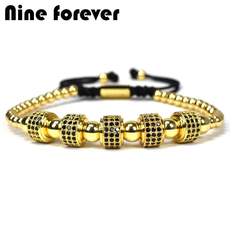 Nueve para siempre joyas de la Corona encantos de la pulsera de los hombres Macrame pulseras de perlas para mujeres pulseira masculina pulseira femenina