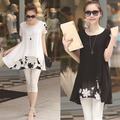 White Black Embroidery Maternity Shirts & Blouses For Pregnant Women 2017 Summer Maternity Clothes Short Pregnancy Clothing