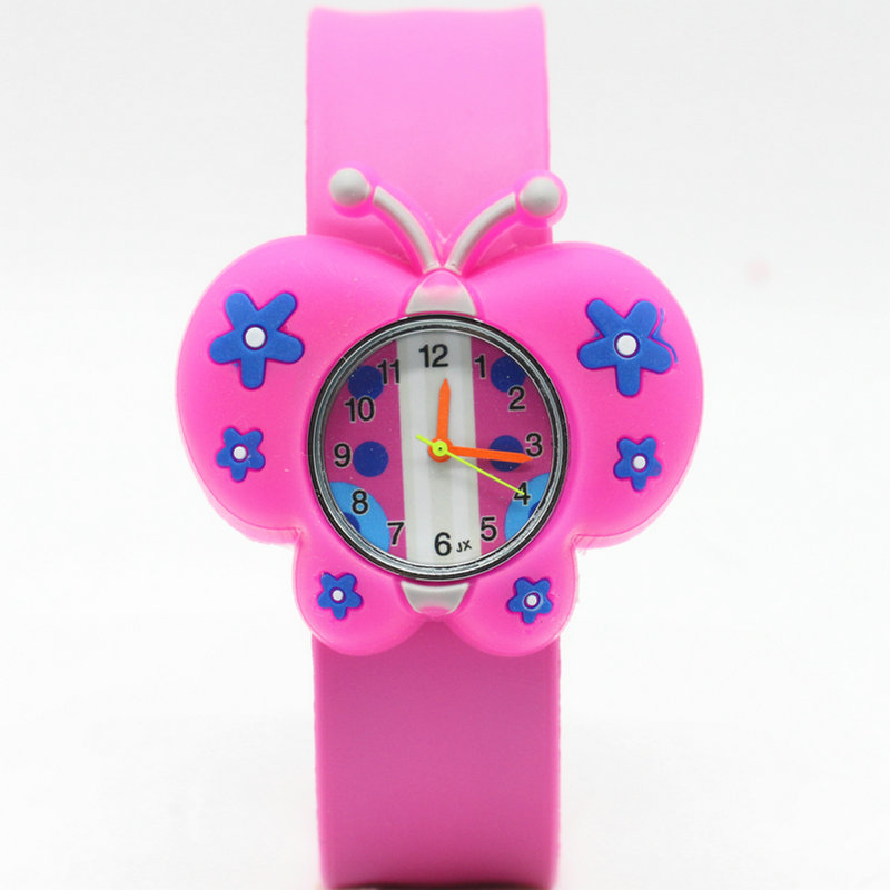 2017 New Kids Watches Cute Butterfly Slap Watch Cartoon Silicone Sports Children Watch 3D Analog Quartz Wristwatch High Quality