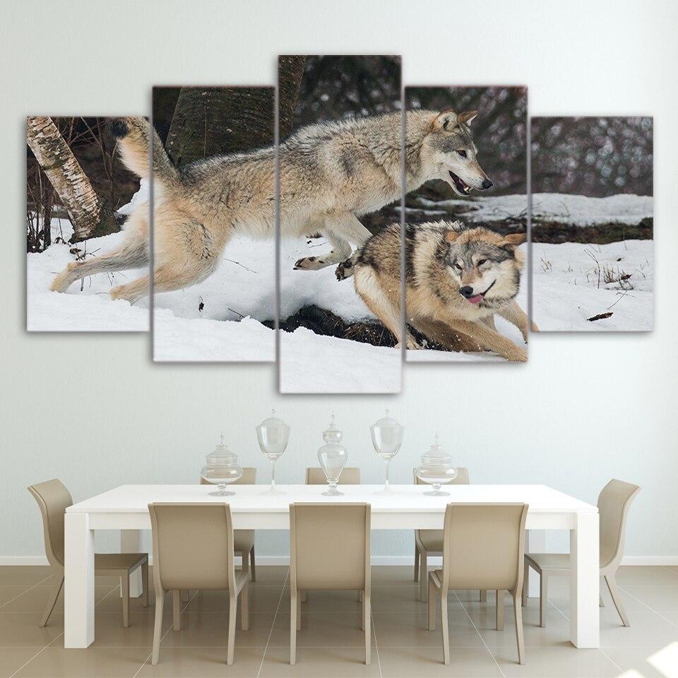 5 unids/set enmarcado HD impreso pareja lobos jugar en la nieve arte ...