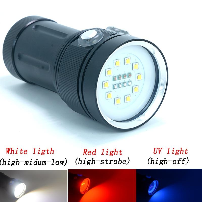 Z20 High Quality Professional CREEL2 LED White Red UV Light LED Torch Underwater Video Diving Flashlight Lamp Scuba Diving Light