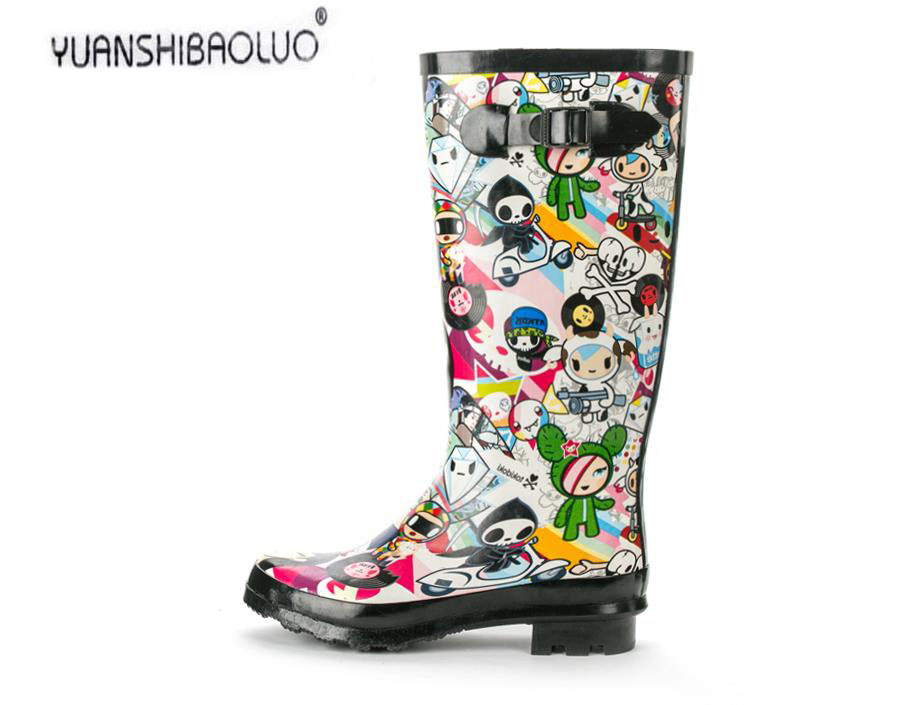 ФОТО New arrival fashion gaotong natural rubber rain boots shoes slip-resistant women's cartoon female high boots