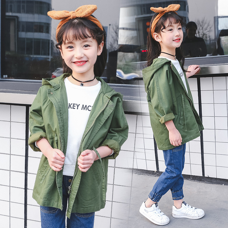 a221cc0c0 Korea Style Girls Jacket Autumn Kids Army Green Color Hooded Long ...