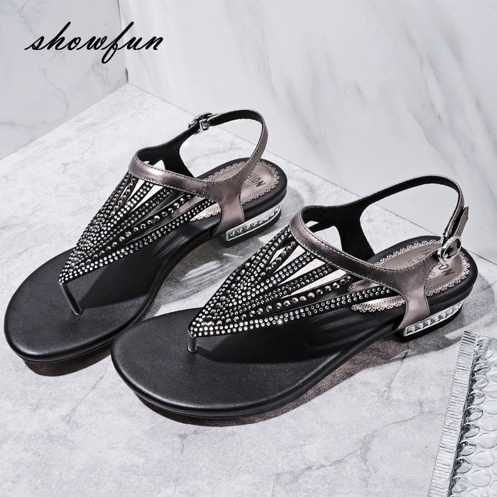 Femmes en cuir véritable t-strap Flip-flop appartements sandales marque Designer loisirs plage Sandalias chaussures d'été pour les femmes grande taille