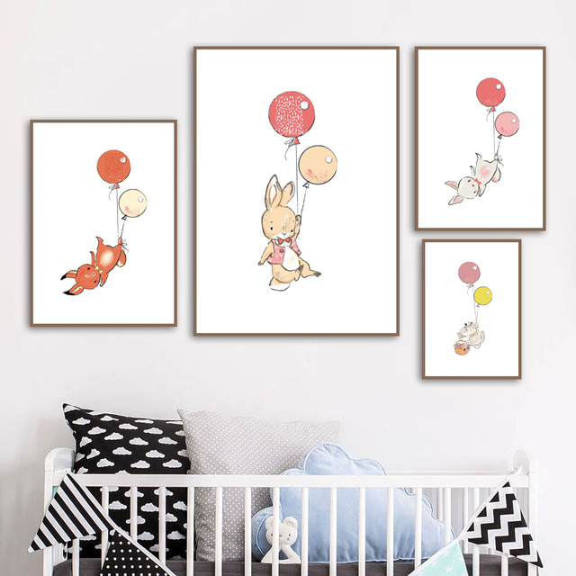 Cartoon Rabbit Balloon Bunny Nursery Wall Art Canvas Painting Nordic Posters And Prints Pictures Baby