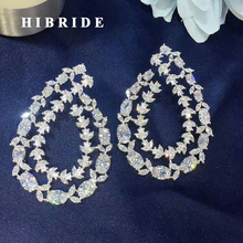 HIBRIDE Beautiful Olive Branch White Cubic Zirconia Women Stud Earring Trendy European Style Earring Brincos Female Gift E-555 co e olive