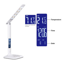 led Table Lamp with LED display Desk Lamp Portable LED reading lamp With Calendar Clock Flexible Modern office lamp Dimmable