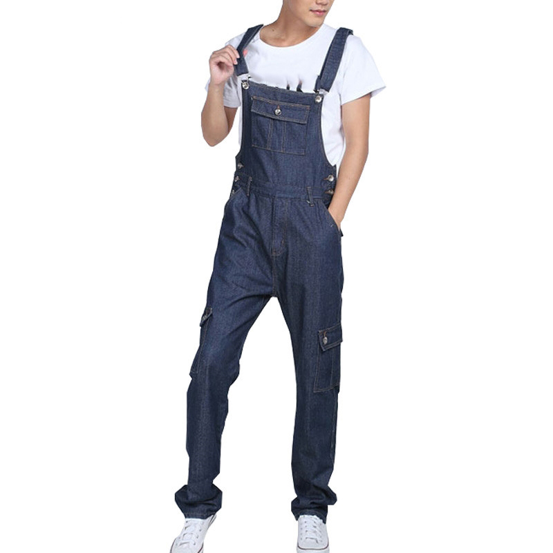 Mens Baggy Multipockets Denim Bib Overalls Loose Jeans Jumpsuits For Male Suspender Pants Cargo Jeans Plus Size S 5XL